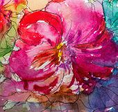 Painting In Watercolor, Impressionism Style, Textured Painting, Flower Still Life, Painting Painted poster