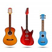 Set Of Different Bright Realistic Guitars. Retro Acoustic Guitar, Electric Rock Guitar And A Little  poster