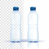 Plastic Bottle Vector. Empty Label. Bluer Classic Water Bottle With Cap. Container For Drink, Bevera poster