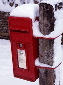 Snow On Red Postbox poster