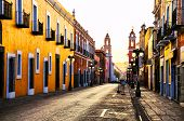 Morning Streets In Colonial City Puebla, Mexico poster