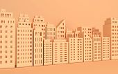 Beige Paper Skyscrapers. Achitectural Building In Panoramic View. Modern City Skyline Building Indus poster