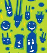 image of dogon  - Seamless pattern of African masks in a fusion of modern and ancient Dogon styles - JPG