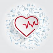 Heartbeat Line Cardiogram Icon And Handdrawn Healthcare Doodles Background. Vector Illustration poster