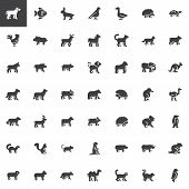 Animals Side View Vector Icons Set, Modern Solid Symbol Collection, Filled Style Pictogram Pack. Sig poster
