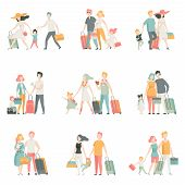Family Travel Set, Father, Mother And Kids Characters Travelling Together, Happy Family Vector Illus poster