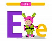 Letter E And Funny Cartoon Elk.  Animals Alphabet A-z. Cute Zoo Alphabet In Vector For Kids Learning poster