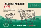 Fine Quality Organic Beef. Abstract Vector Meat Packaging Design Or Label. Modern Typography And Han poster
