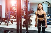 Fitness Girl Exercising With Barbell In Gym. Young Beautiful Fitness Girl Posing In Gym With Sports  poster