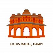 Lotus Mahal, Hampi. Indian Most Famous Sight. Architectural Building. Famous Tourist Attractions. Ve poster