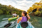 Couple kayaking together in mangrove river of the Keys, Florida, USA. Tourists kayakers touring the  poster