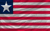 Complete Waved National Flag Of Liberia For Background