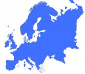 Denmark Location In Europe Map poster