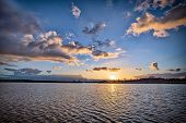 Dramatic Sunset Cloudy Sky With Picturesque Clouds Lit By Warm Sunset Sunlight, Natural Sunset Sky L poster