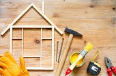 Home Renovation Construction Diy Abstract Background With Tools On Wooden Board poster
