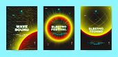 Neon Music Posters, Electronic Sound Concept. Wave Distorted Dotted Lines, Light Round. Techno Music poster