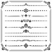 Vintage Set Of Vector Decorative Elements. Horizontal Separators In The Frame. Collection Of Differe poster