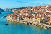 Cityscape Of Porto (oporto) Old Town, Portugal. Valley Of The Douro River. Panorama Of The Famous Po poster
