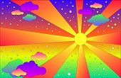 Vintage Psychedelic Landscape With Sun And Clouds, Stars. Vector Cartoon Bright Gradient Colors Back poster