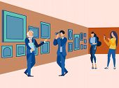 Picture Gallery, Exhibition. Visit The Art Museum. In Minimalist Style. Flat Isometric Vector poster