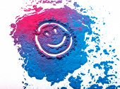 Abstract colorful Happy Holi background. Color vibrant powder isolated on white. Dust colored splash poster