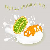Illustration On Theme Falling Kiwano At Splash Sugary Cow Milk. Kiwano Pattern Consisting Of Cute Me poster