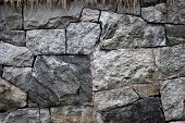 picture of fieldstone-wall  - Old grunge stone wall close up photo - JPG