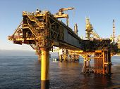 foto of oil rig  - A large North Sea oil and gas platform - JPG