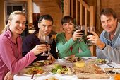 picture of chalet  - Group Of Friends Enjoying Meal In Alpine Chalet Together - JPG
