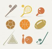 stock photo of ping pong  - Abstract style sports equipment icons - JPG