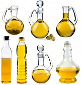 stock photo of flask  - Olive and sunflower oil in the bottles and decanters isolated on white  background - JPG
