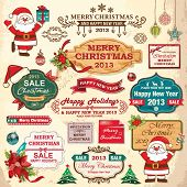 stock photo of holly  - Collection of christmas ornaments and decorative elements - JPG