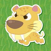 stock photo of saber tooth tiger  - A cute color Saber - JPG