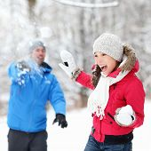 picture of snowball-fight  - Winter fun  - JPG