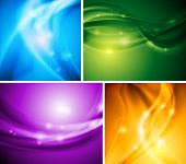 Set of bright wavy backgrounds. Vector design eps 10