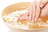 Woman hands with french manicure and flowers in bamboo bowl with water