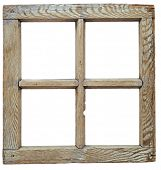 Very old grunge wooden window frame isolated in white