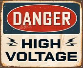 stock photo of voltage  - Vintage Metal Sign  - JPG