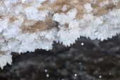 picture of crystallography  - Crystals of gypsum deep in cave in Ukraine - JPG