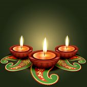 stock photo of diwali lamp  - stylish glowing diwali diya background - JPG