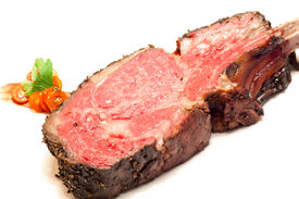 stock photo of wagyu  - Gourmet Main Entree Course Roasted Wagyu beef steak - JPG