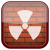 stock photo of radium  - Square shiny icon with white design on bricks wall background - JPG