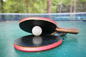Ping-pong rackets and ball on a table