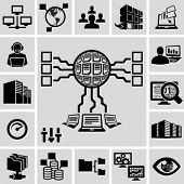 Server, Netzwerk, Datenbank, Data Analytics Icons set