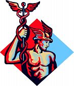 stock photo of patron  - Illustration of Roman god Mercury patron god of financial gaincommerce communication and travelers wearing winged hat and holding caduceus a herald - JPG