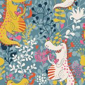 stock photo of dinosaur  - Cute seamless pattern with funny dragons in love with little birds - JPG