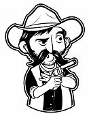 black and white clipart cowboy Fighter
