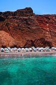 pic of magma  - Seascape and red beach of Santorini island Greece - JPG