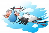 stock photo of stork  - Tired and surprised stork flying and holding a newborn baby in a blue bag - JPG