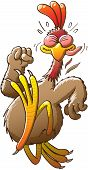 pic of clenched fist  - Big and nice chicken doing his best effort to run extremely fast and escape from an unknown danger while clenching his fist - JPG